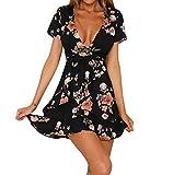 FNKDOR Robe Femme Femmes Chic Ete Bohemian V Décolleté Robe Fleur Imprimer Manches Courtes Robe de Plage Plissé Robe (Noir, XL)