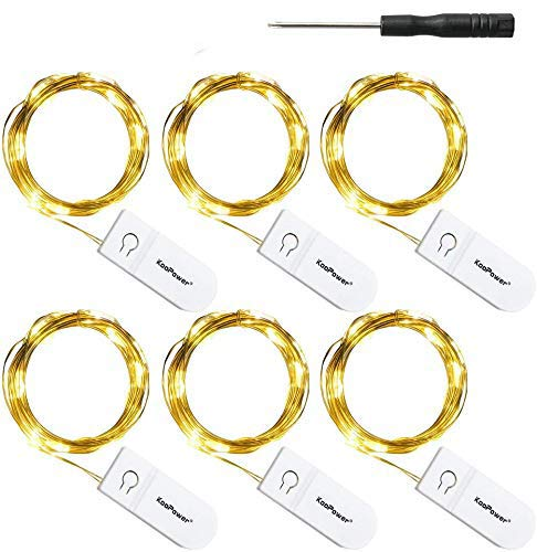 Koopower 6 Pack 2M Micro LED Lichterkette mit CR2032 Batterie für Party, Garten, Weihnachten, Halloween, Hochzeit, Beleuchtung Deko (Warm Weiß)