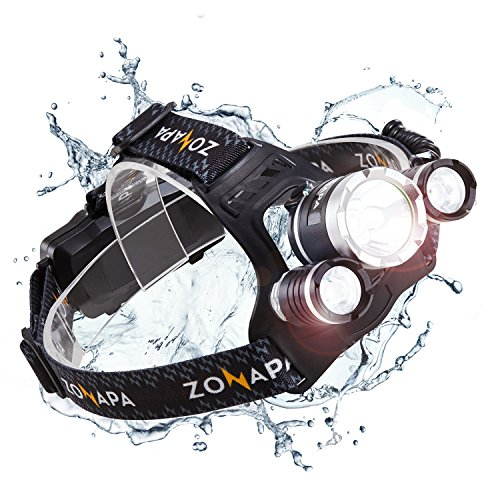 ZONAPA Rechargeable LED Headlamp Head Mounted Flashlight | Waterproof, Outdoor Use | Tactical Camping, Hiking, Running Lights | Ultra Bright
