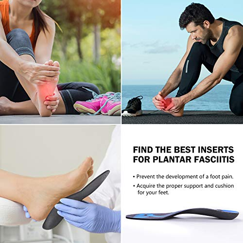 Conor Plantar Fasciitis Feet Arch Support Insoles for Men and Women Shoe Inserts Orthotic Inserts Flat Feet Running Athletic Best Shoe Insoles Orthotic Insoles for Relieve High Arch Foot Pain Black