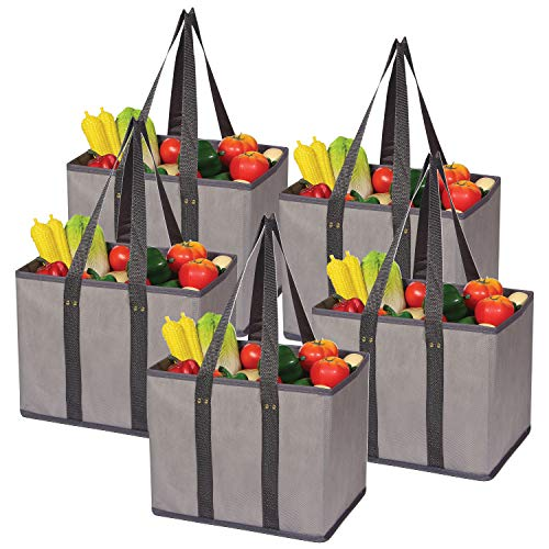 5 Pack Large Reusable Grocery Bags Foldable Durable Heavy Duty Tote Bag Set Eco Friendly Collapsible Shopping Cart Boxes Storage Bins Cubes with Long Handles & Reinforced Bottom