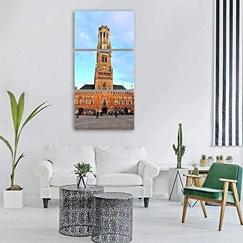 WERSD Leinwandbilder 3 Teilig Leinwand Wandkunst Belfry Von Bruges Moderne Leinwanddrucke Deko Bilder Gemälde Kunstdruck Ölbild Für Zuhause 50X70Cmx3