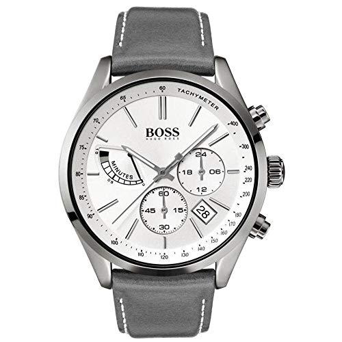 Hugo Boss Herren Chronograph Quarz Uhr mit Leder Armband 1513633