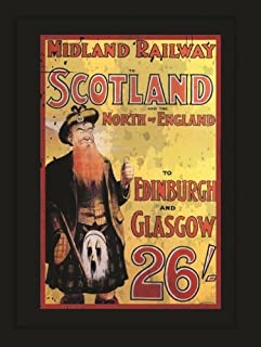 Midland Railway Metal Sign, Scotland and England Travel, Scottish Piper