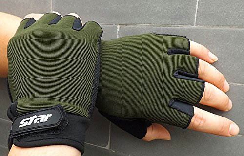 Men Antiskid Cycling Bike Gym Fitness Sports Half Finger Gloves, Gloves, Clothing Shoes & Accessories (AGreen L)