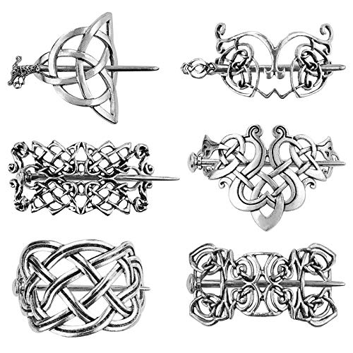 6 Pieces Celtic Hairpins Viking Hair Slide Vintage Silver Hair Clips Metal Hair Stick Clips Knot Hair Stick Creative Hair Accessories for Long Hair Women