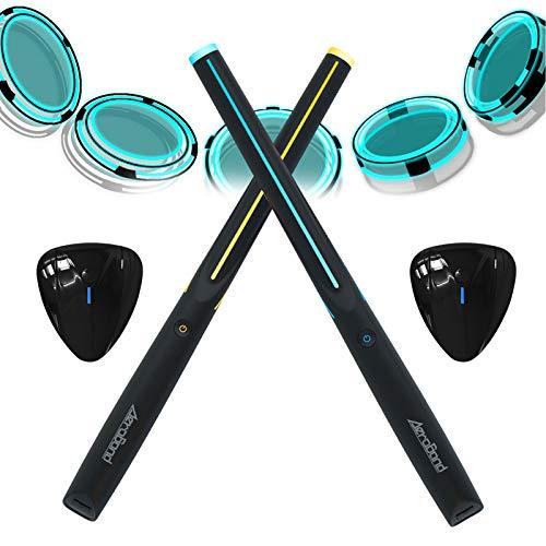 AEROBAND Bluetooth Drum Sticks mit Air Guitar Pick, elektronisches Lufttrommelset mit Licht, drahtlose Verbindungstasche, 4 Modi Tragbare Drumsticks für Reisen im Innen- und Außenbereich