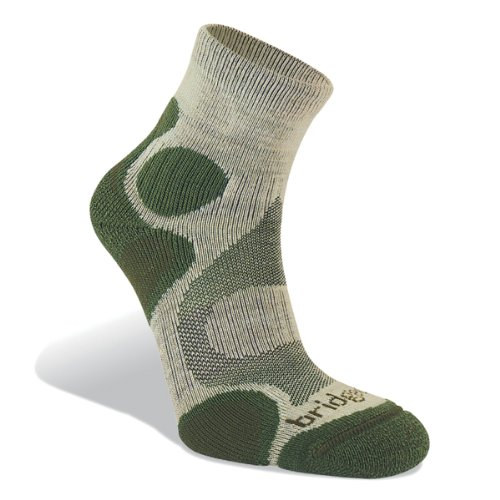 Bridgedale Women's CoolFusion Trail Diva Socks, Stone/Sage, Small