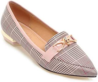 BalaMasa Womens Checkered Casual Charms Urethane Pumps Shoes APL10787