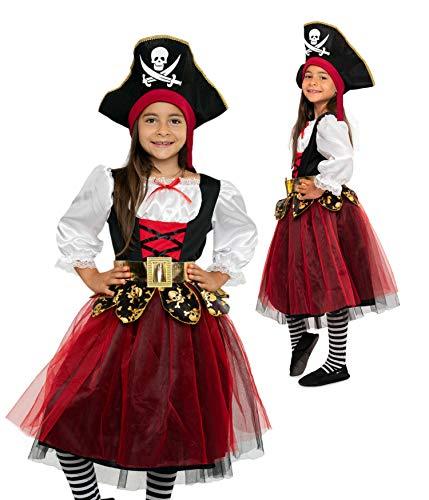 Magicoo Deguisement Pirate Enfant pour Fille avec Robe et Chapeau - de 3 à 12 Ans Rouge/Noir/doré - Costume de Pirate Fille (128/134)