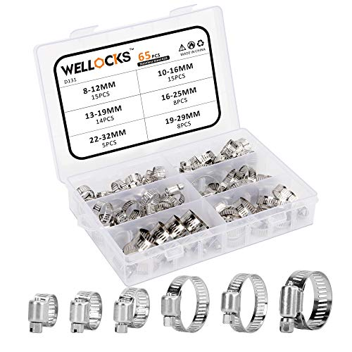 WELLOCKS Hose Clamp Assortment 65PCS Stainless Steel Adjustable 8-32mm Range Worm Gear Hose Clamps Kit Fuel Line Clamp for Water Pipe, Plumbing, Automotive and Mechanical Application (D131)