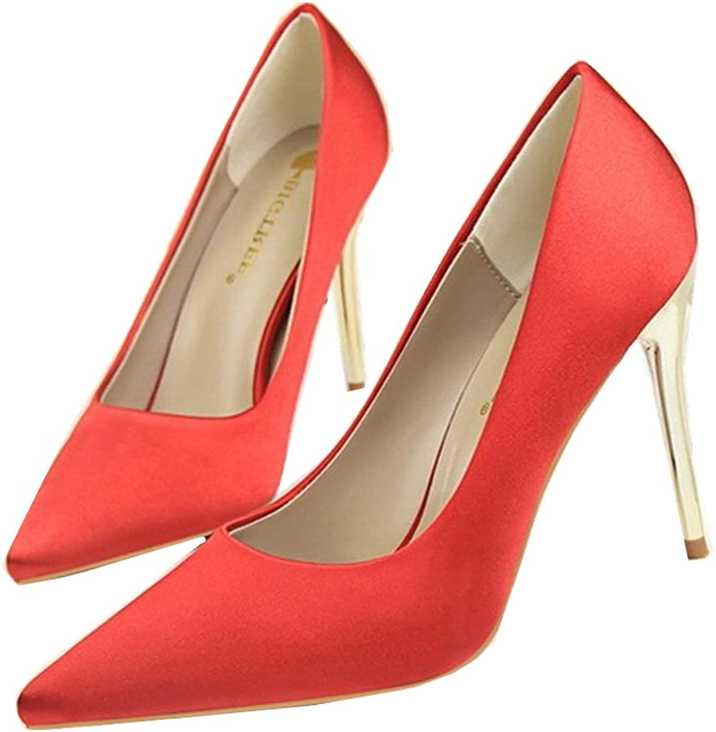 GUJMin Women's Closed Pointed shoes high Heels high Heels Party Sexy Wedding shoes