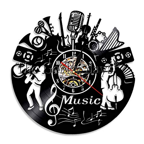 1 Stück Musik Rock and Roll Vinyl Uhr -Lichter Vinyl Home Decor Musik Wandkunst Vintage Uhr für Musikliebhaber-Keine