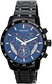 Tornado Men's Men's Watch Chronograph Display Blue Dial Black Stainless Steel Bracelet - T9104-Bbbl