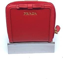 Prada Portafoglio Lampo Fuxia Light Red Vitello Move Zip Flap Bow Wallet 1ML522
