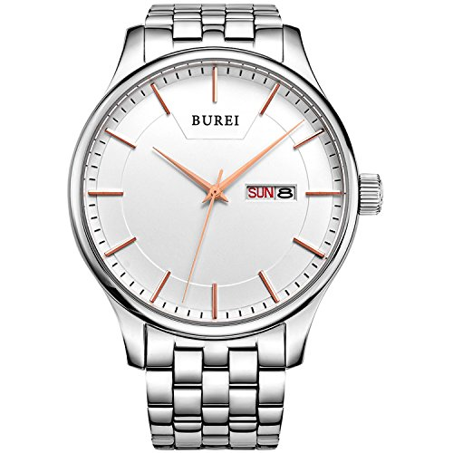 BUREI Hombres Relojes analógicos de Cuarzo Blanco Relojes de Pulsera con Calendario de...