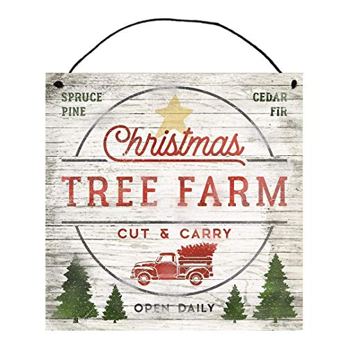 Christmas Tree Farm Wood Sign with Red Truck | Cut & Carry | Spruce Cedar Fir Pine | Festive Holiday Hanging Home Decor | Gifts for Friends & Family | Local Legends Designs | Size (12' x 12')