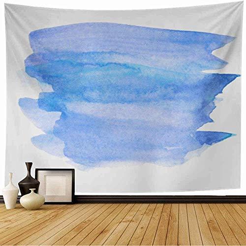 Tapiz de Pared Tapestry Derramar Tinte de lavado azul cielo violeta Acuarela Etiqueta húmeda Pincel monocromo Frotis de pintura Líquido abstracto Wall Hanging 80X60inch