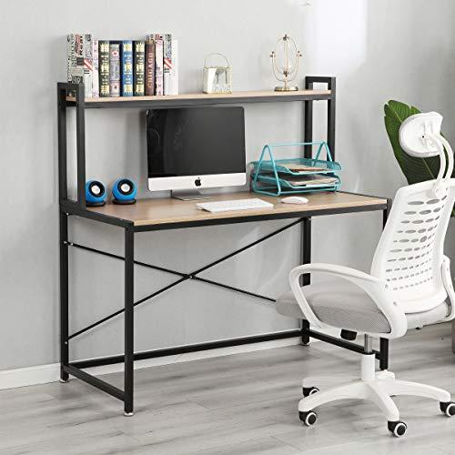 DlandHome Escritorio de Computadora con Estantes 120 * 60 cm Escritorio de Oficina Mesa de Madera Escritura de Postes de Trabajo para Hogar y Oficina, Teca & Negro