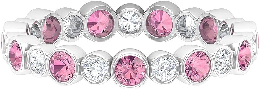 1.25 CT Bezel Set Pink Tourmaline and Diamond Eternity Band Ring,14K White Gold,Diamond,Size:US 8.50