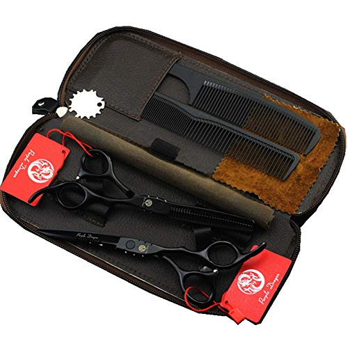 Purple Dragon Professional Japan 440C Hair Salon Cutting Shear and Barber Thinning Scissor Hairdressing Shear Set with Bag