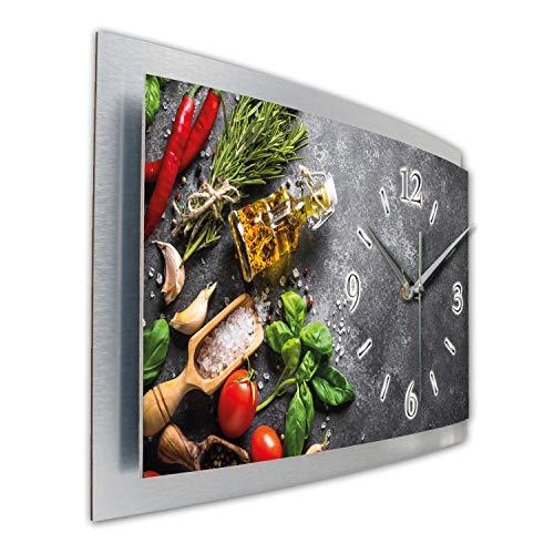 Kreative Feder Frische Küche Wanduhr 3D XXL Designer leise Funk Motiv Funkuhr Wandbild modernes Design WAA119FL (50x30 cm leise Funkuhr)