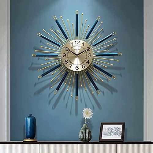 AMYZ Reloj de Pared Sunburst de 27 Pulgadas,Reloj de Pared Starburst de Mediados de Siglo,Reloj de Pared Moderno Grande,diseño único,Reloj de Metal,decoración de Pared para Sala de Estar,co