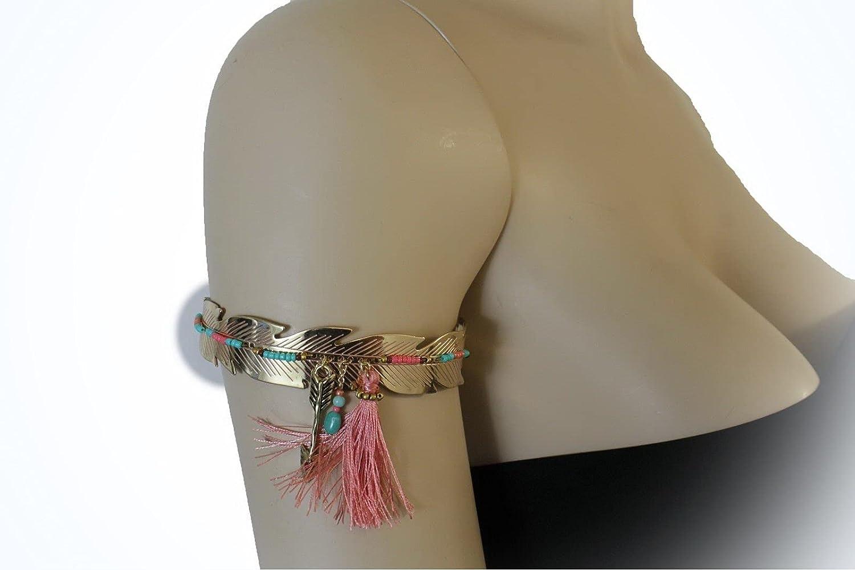 Women Gold Pink Metal Feather Cuff Upper Arm Ethnic Bracelet Arrow Fabric Fringe Statement Chunky Bangle Jewelry Bracelet