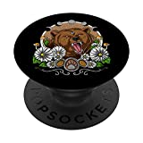 Psychedelic Bear Forest Animal Moon Phases PopSockets PopGrip: Swappable Grip for Phones & Tablets
