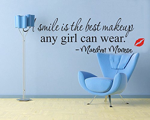 ufengke® A Smile is The Best Makeup Any Girl Can Wear Marilyn Monroe Zitate Und Sprüche Wandsticker, Wohnzimmer Schlafzimmer Entfernbare Wandtattoos Wandbilder