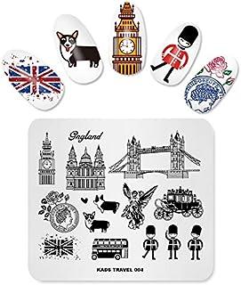 KADS Nail Art Stamping Plates Travel UK Corgi Stamping Templates Manicure Print Image Templates(TR004)