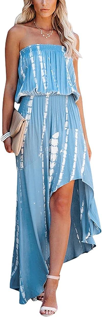 chouyatou Women's Casual Bohemian Striped Strapless Tube Top Irregular Ruffle Maxi Dress
