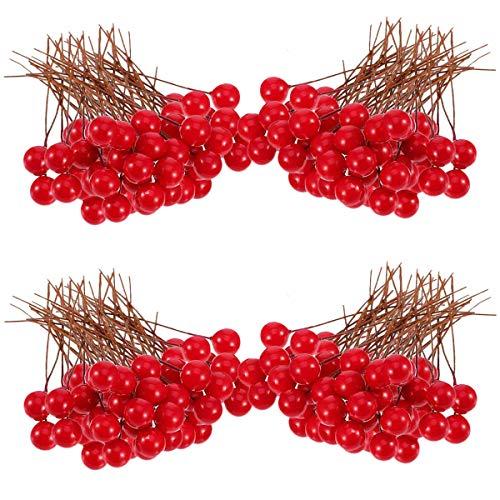 Weihnachtsdekoration Obst, 100 Stück, 10 mm, künstliche Beeren für Bastelarbeiten, Weihnachtsbaum-Dekoration, Girlande, Rot