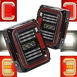 AUDEXEN LED Tail Lights Compatible with Jeep Wrangler JK JKU 2007-2018, Unique'C' Shaped Design Clear Lens, 20W Reverse Lights, Built-in EMC, DOT Compliant, 2 PCS