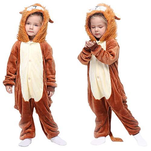 MMTX Pijamas Animal para Niñas Niños, Pijamas de León Pijamas Enteros de Animales con Capucha, Halloween Navidad Regalos para Niñas y Adolescentes 3-12 Años (L)