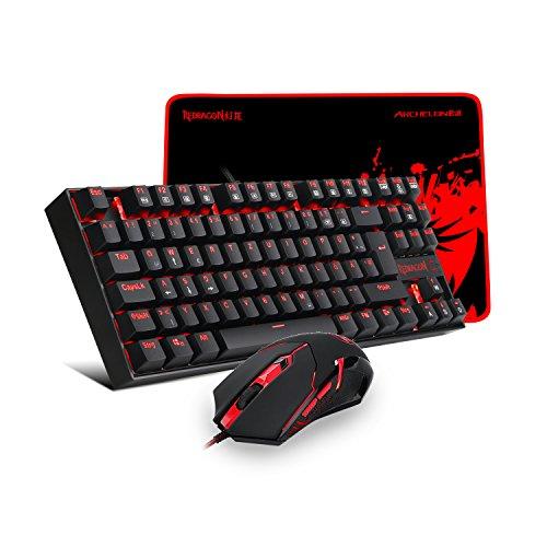 REDRAGON K552-BA-DE Gaming Tastatur und Gaming Maus Set Plus Mauspad, LED Rot Beleuchtete Mechanische Gaming Tastatur 87 Tasten Gaming Maus M601 Gaming Mauspad (QWERTZ Deutsches Tastaturlayout)