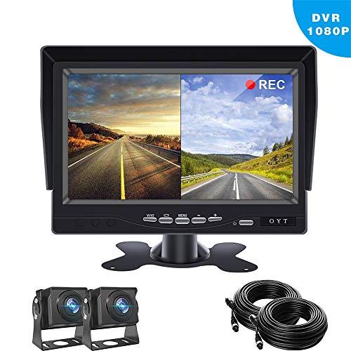 Backup Camera for Trucks,7 inch TFT LCD Reversing Camera Monitor with 2 Wide-Angle 170° Reversing Camera IP68 Waterproof/Night Vision for Vans,Camping Cars,School Bus,RVs
