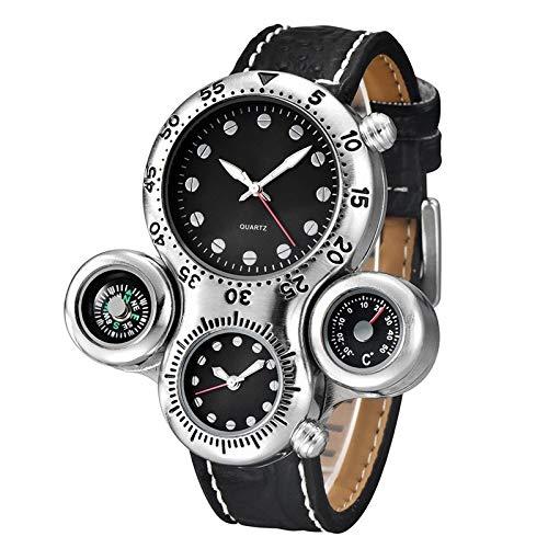 GLGLZBDPPJIUGE LQPDOZDJX Reloj De Cuarzo Relojes Deportivos De Cuero Casual Male Correa Reloj Decorativo Termómetro del Compás De Los Hombres De (Color : Black)