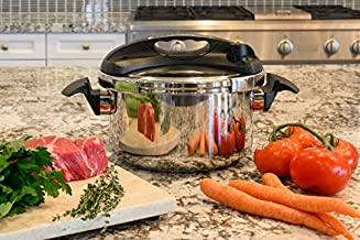 Barton Turbo 6 Quart Stove Top Pressure Cooker Induction Compatible Easy-Lock Lid, 18/8-Stainless Steel with Recipe Book