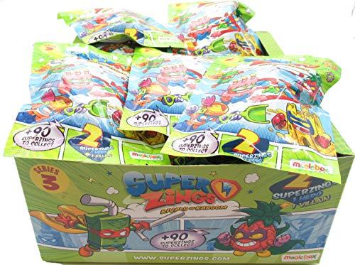 Magic Box SUPERZINGS Caja Completa 30 Sobres 2 Personajes Cada uno (1 héroe + 1 Enemigo) 60 Personajes Total Originales Rivals of Kaboom Serie 3
