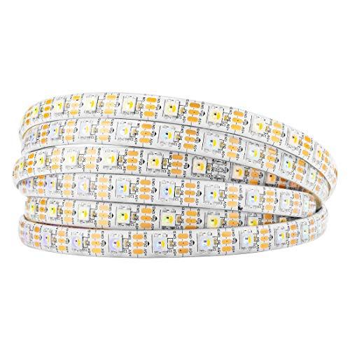 BTF-LIGHTING RGBW RGBWW Warm White SK6812 (Similar WS2812B) 16.4ft 5m 60leds/Pixels/m Individually Addressable Flexible 4 Color in 1 LED Dream Color LED Strip Waterproof IP65 DC5V