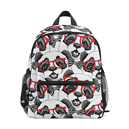 Chic Casas con Gafas Caballero Panda Bow-Knot Preescolar Bookbag Animal Cartoon Pattern Little Kid Travel Mochila Kindergarten Elementary School Bag para niños niño niña 2030446