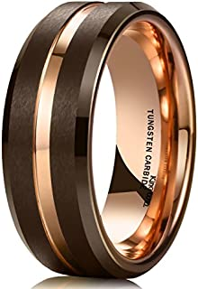 King Will Duo 8mm Brown Brushed Tungsten Carbide Wedding...