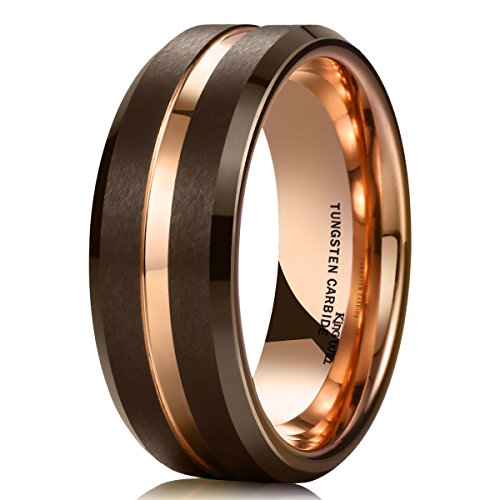 King Will Duo 8mm Brown Brushed Tungsten Carbide Wedding Band Ring Thin Rose Gold Groove Comfort Fit 8.5