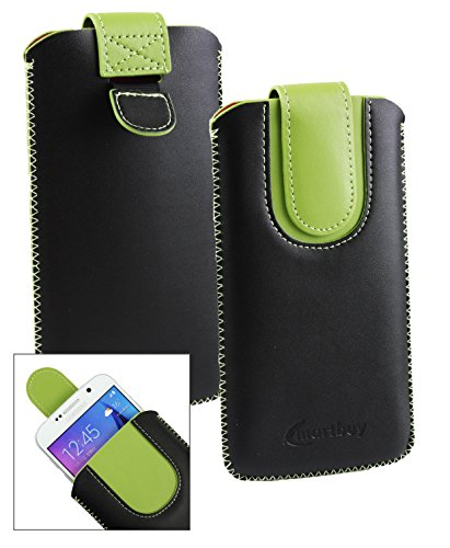 Emartbuy® Schwarz/Grün PU Leder Slide in Hülle Tasche Sleeve Halter (Größe LM2) Mit Zuglasche Mechanismus Geeignet Für Slok C3 Dual SIM Smartphone