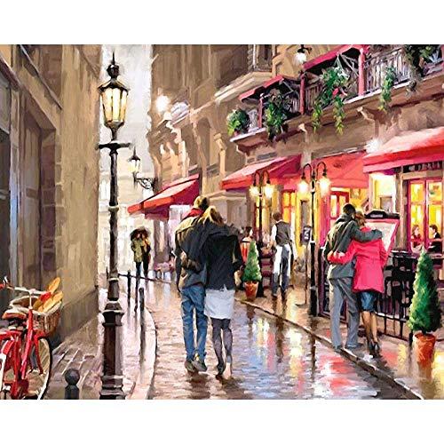 Pintar por Numeros para Adultos,Pareja romántica en bicicleta de calle DIY Pintura al óleo Kit por Números con Pinceles y Pinturas Decoraciones para el Hogar,40X50 cm(Sin marco).