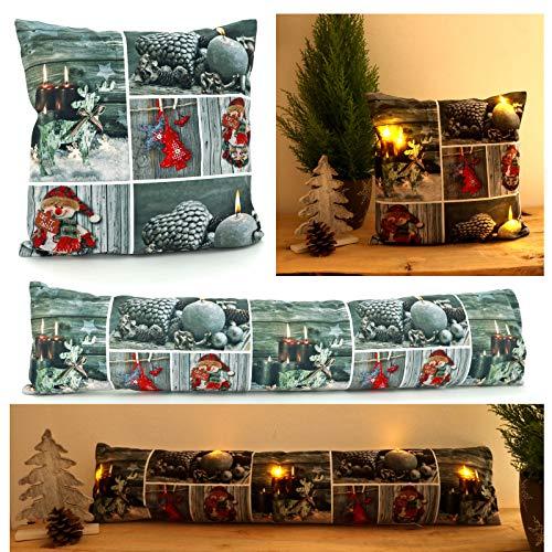 heimtexland ® Zugluftstopper LED-Beleuchtung Weihnachten 20x90 Patchwork Fensterdekoration Stimmungslicht Typ617