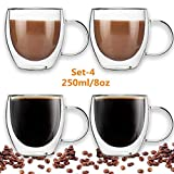 Double Walled Glass Coffee Cups, Set of 4 Glass Tea Cup with Handle,8oz/250ml Insulated Coffee Mugs Perfect for Cappuccino, Macchiato, Latte, Tea, Juice, Iced& Hot Beverages