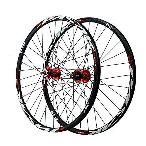 YQQQQ Juego de Ruedas MTB 26 Pulgadas 27,5, Aleación de Aluminio 29 ER Ruedas de Bicicleta P19 Freno de Disco de Borde de Ciclo (Color : Red, Size : 26inch)