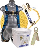 Palmer Safety Fall Protection Roofing Bucket Kit I Full-Body Harness, 50' Vertical Rope & Anchor Set I Construction Fall...